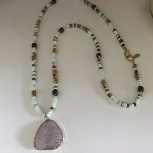Mickey Lynn long druzy/stone necklace 36 inch EUC